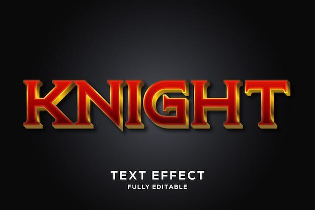 Efecto de estilo de texto 3d rojo y dorado medieval