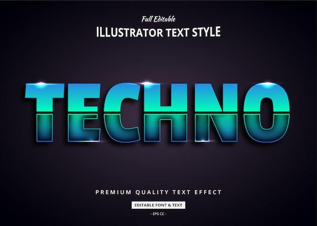 Efecto de estilo de texto 3d techno future