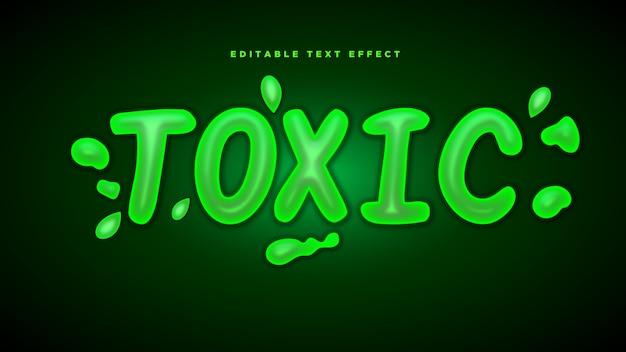 Efecto de estilo de texto 3d tóxico