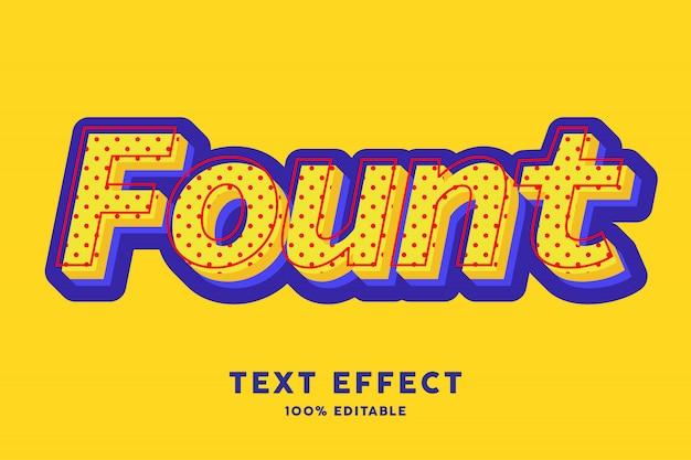 Efecto de estilo de texto de arte pop azul amarillo