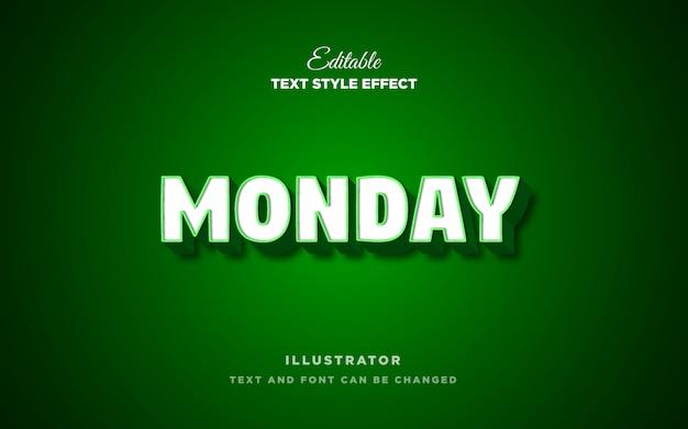 Efecto de estilo de texto blanco verde verde de moda