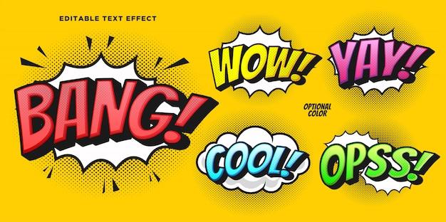 Efecto de estilo de texto de burbuja cómica