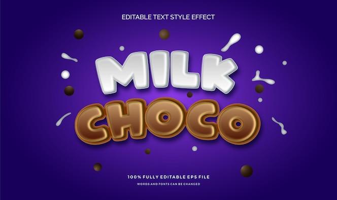 Efecto de estilo de texto de choco de leche .efecto de estilo de texto editable