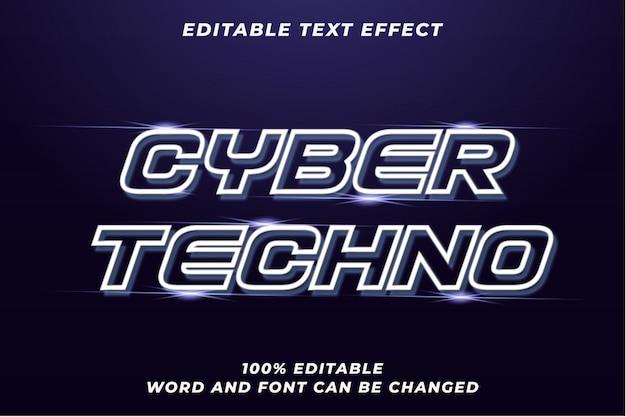 Efecto de estilo de texto de cyber techno