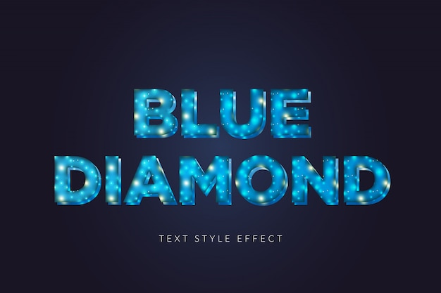 Efecto de estilo de texto de diamante azul 3d con luz brillante