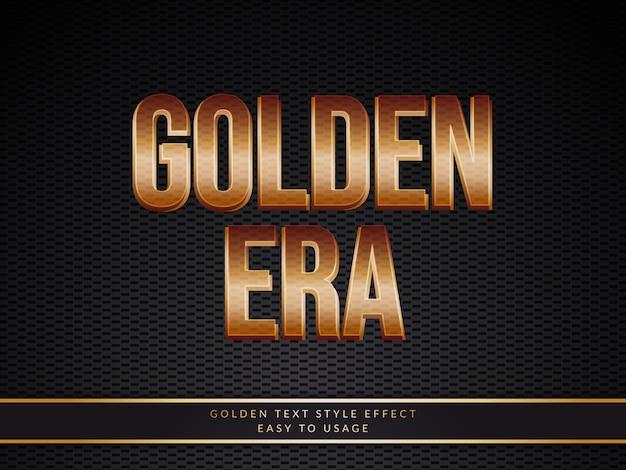 Efecto de estilo de texto dorado 3d con degradado de oro viejo