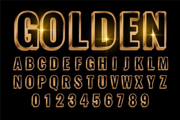 Efecto de estilo de texto dorado en estilo 3d