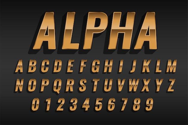 Efecto de estilo de texto dorado de lujo con alfabetos y números