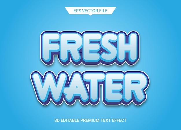 Efecto de estilo de texto editable 3d de agua dulce