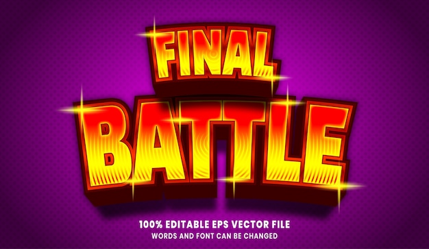 Efecto de estilo de texto editable 3d de batalla final