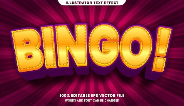 Efecto de estilo de texto editable 3d de bingo