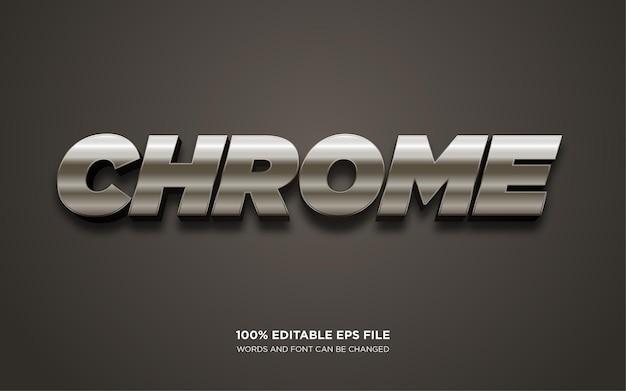 Efecto de estilo de texto editable 3d de chrome