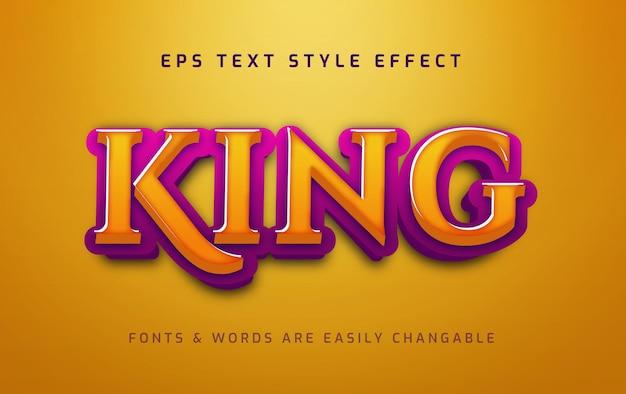 Efecto de estilo de texto editable 3d histórico de king