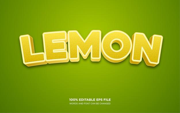 Efecto de estilo de texto editable 3d de limón
