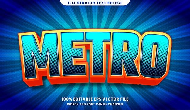 Efecto de estilo de texto editable 3d de metro