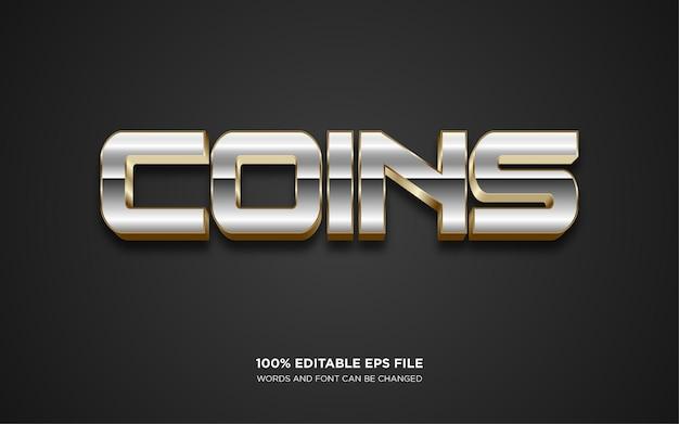 Efecto de estilo de texto editable 3d de monedas