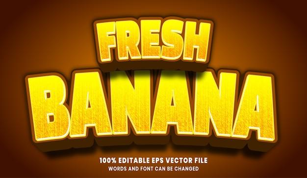Efecto de estilo de texto editable 3d de plátano fresco