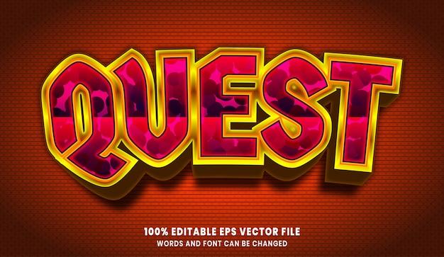 Efecto de estilo de texto editable 3d de quest