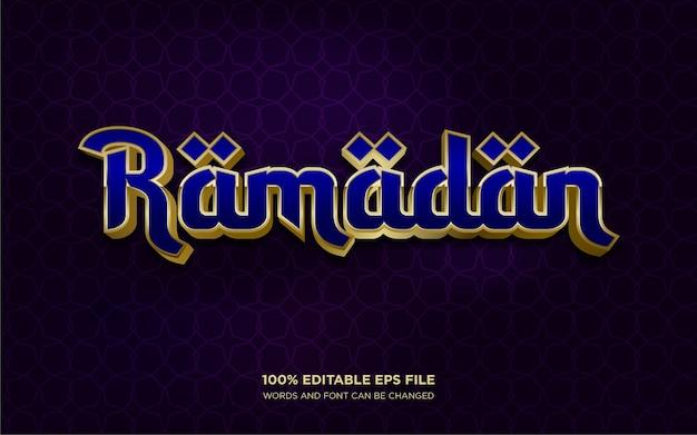 Efecto de estilo de texto editable 3d de ramadán