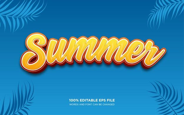 Efecto de estilo de texto editable 3d de verano