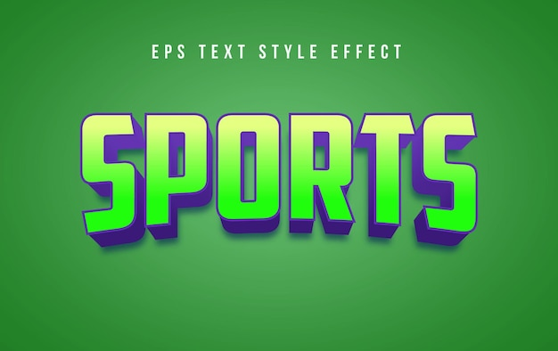 Efecto de estilo de texto editable 3d verde deportivo