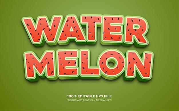 Efecto de estilo de texto editable 3d water melon