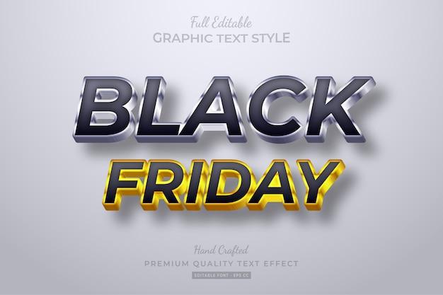 Efecto de estilo de texto editable black friday black gold