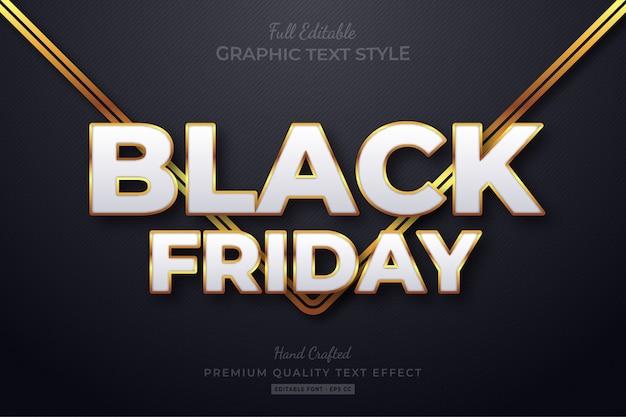 Efecto de estilo de texto editable de black friday gold