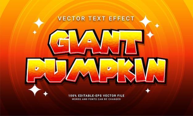 Efecto de estilo de texto editable de calabaza gigante con tema de evento de halloween