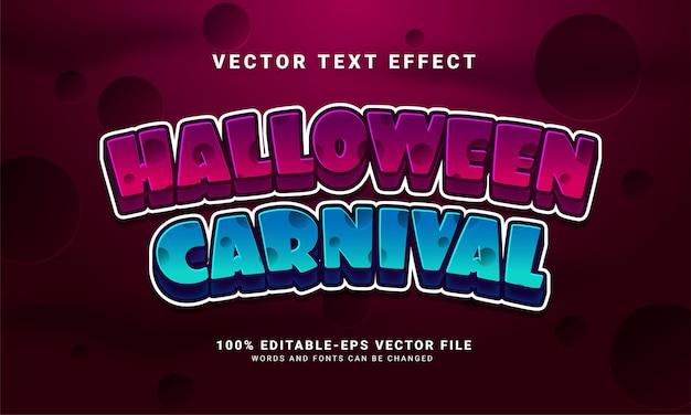 Efecto de estilo de texto editable de carnaval de halloween adecuado para eventos de halloween