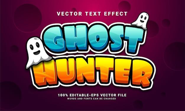 Efecto de estilo de texto editable de cazador de fantasmas adecuado para el tema del evento de halloween