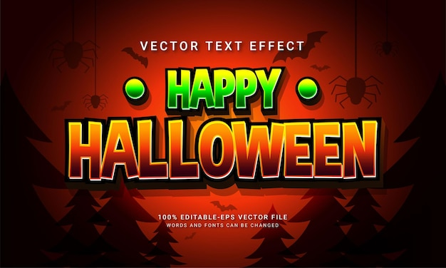Efecto de estilo de texto editable cómico feliz halloween con tema de evento de halloween