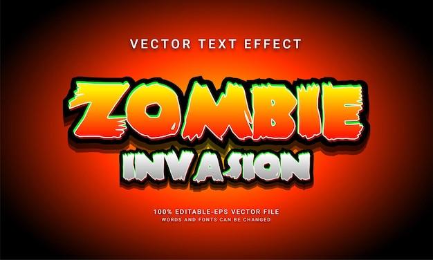 Efecto de estilo de texto editable cómico de invasión zombi con tema de evento de halloween