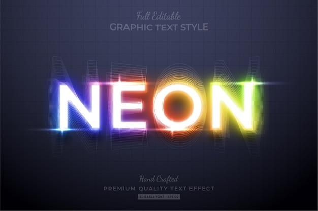 Efecto de estilo de texto editable degradado de neón