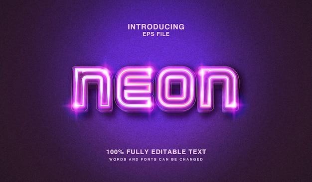 Efecto de estilo de texto editable editable de luces de neón resplandor