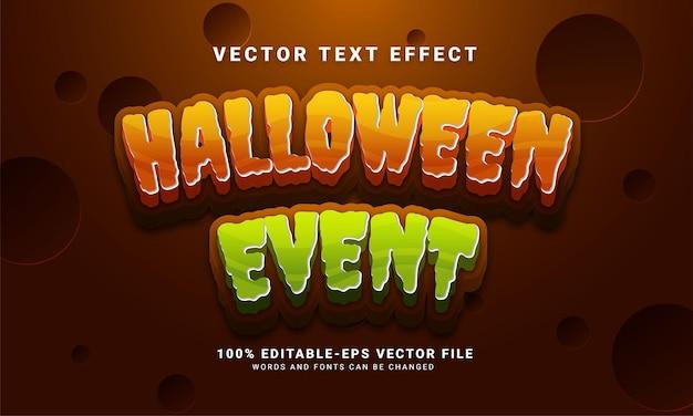 Efecto de estilo de texto editable de evento de halloween adecuado para celebrar el tema de halloween