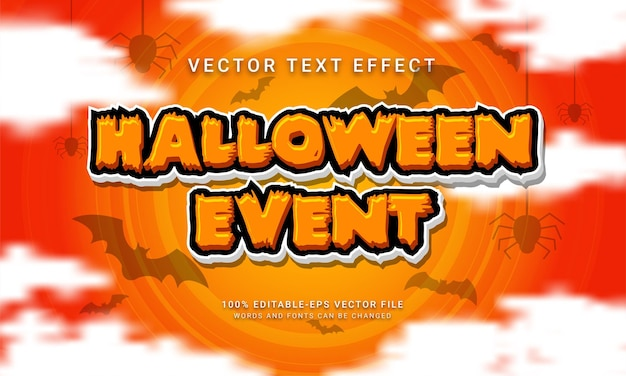 Efecto de estilo de texto editable de evento de halloween con tema especial de halloween
