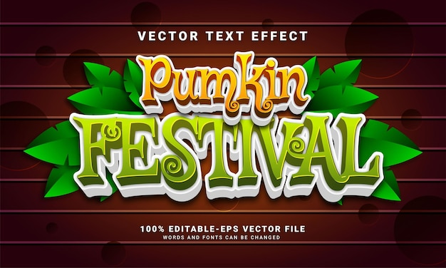 Efecto de estilo de texto editable del festival de la calabaza adecuado para celebrar el evento de halloween