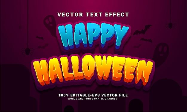 Efecto de estilo de texto editable de happy hallowen adecuado para el tema del evento de halloween Vector Premium