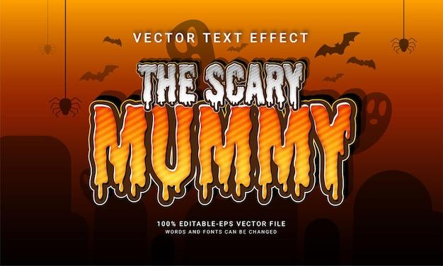 El efecto de estilo de texto editable de la momia aterradora con tema de evento de halloween