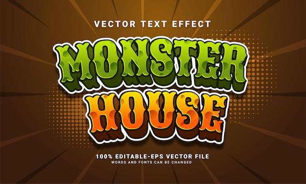 Efecto de estilo de texto editable de monster house adecuado para eventos de halloween