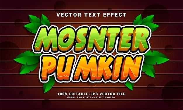 Efecto de estilo de texto editable monster pumkin adecuado para el tema del evento de halloween