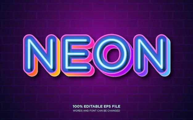 Efecto de estilo de texto editable neon glow