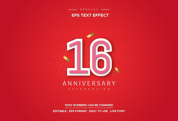 Efecto de estilo de texto editable con números de aniversario