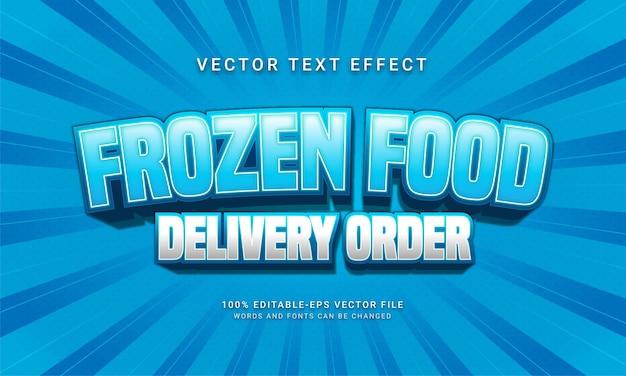 Efecto de estilo de texto editable de pedido de entrega de comida congelada con tema de promoción de venta