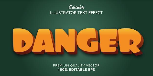 Efecto de estilo de texto editable de peligro