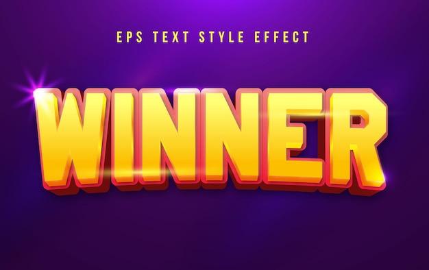 Efecto de estilo de texto editable rojo y amarillo ganador