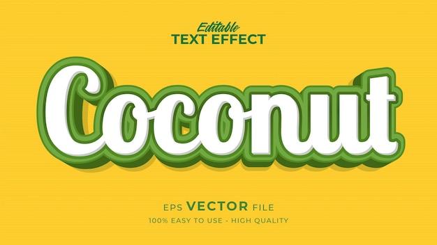 Efecto de estilo de texto editable: tema de estilo de texto de coco fresco