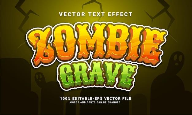Efecto de estilo de texto editable de tumba zombie adecuado para el tema del evento de halloween
