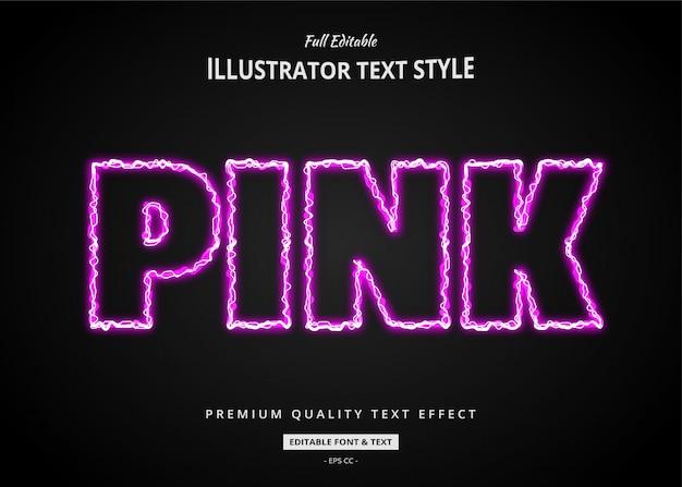Efecto de estilo de texto de electricidad rosa